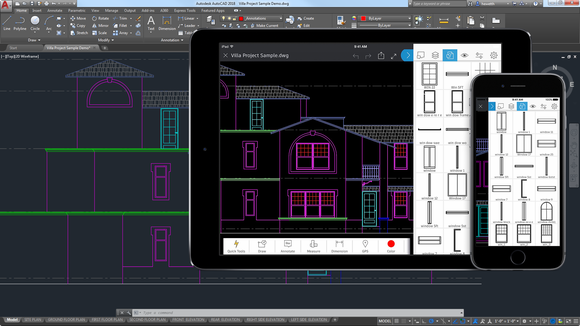 Autodesk's AutoCAD program, as seen on a computer screen, a tablet, and a phone.