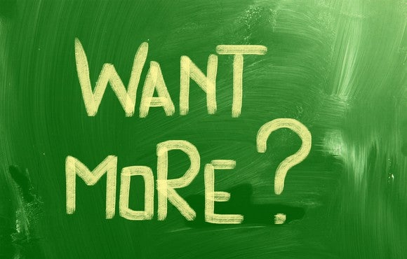"The words ""want more?"" are painted in yellow on a green background."