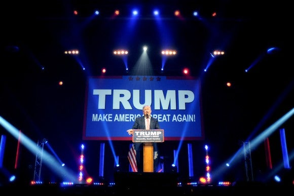 Donald Trump addresses voters at a campaign rally in 2016.