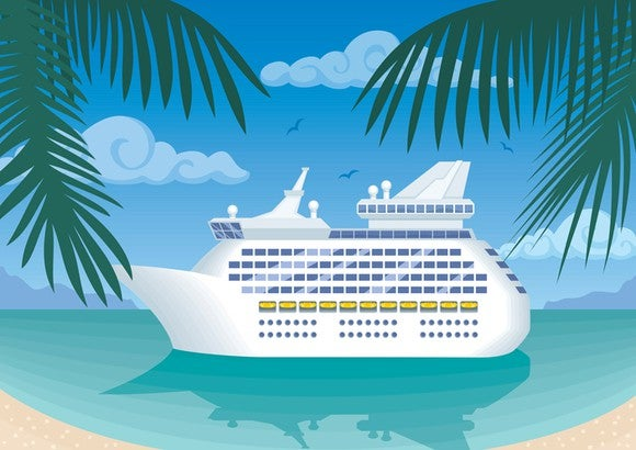 An illustration of a cruise ship mooring in a tropical bay.