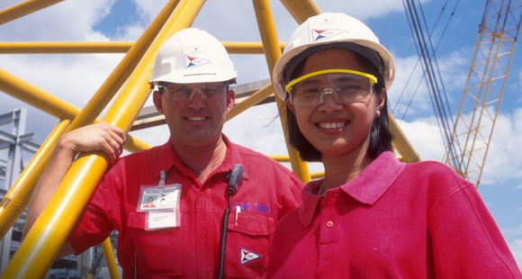 Fluor employees at a refinery.