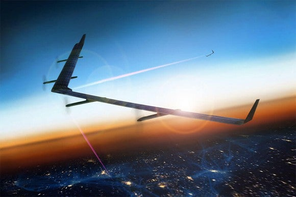 Facebook's Aquila drone flying and beaming internet.