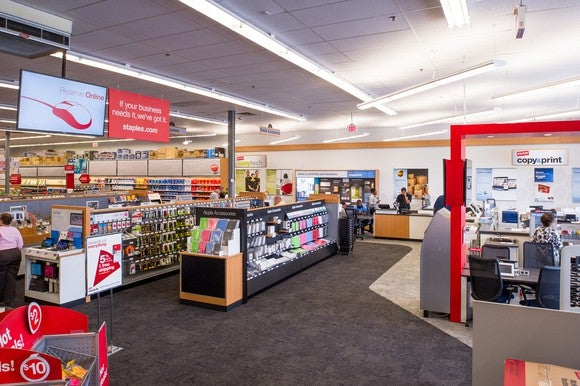 The inside of a Staples store showing it's open layout.