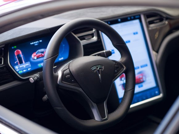 Tesla Model S steering wheel and touch display.