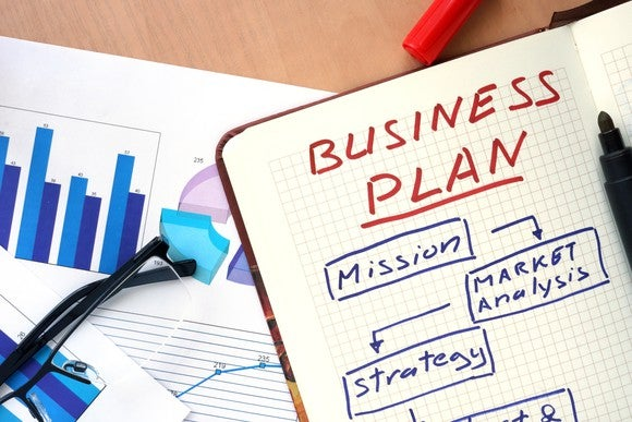Sample business plan on a table.