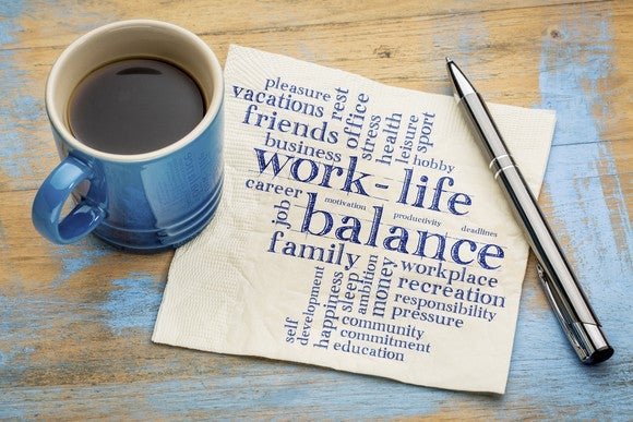 A napking with a Work-life balance word cloud.