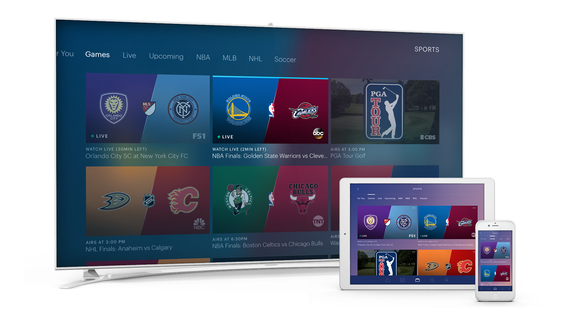 TV, tablet and smartphone each displaying Hulu sports screen.