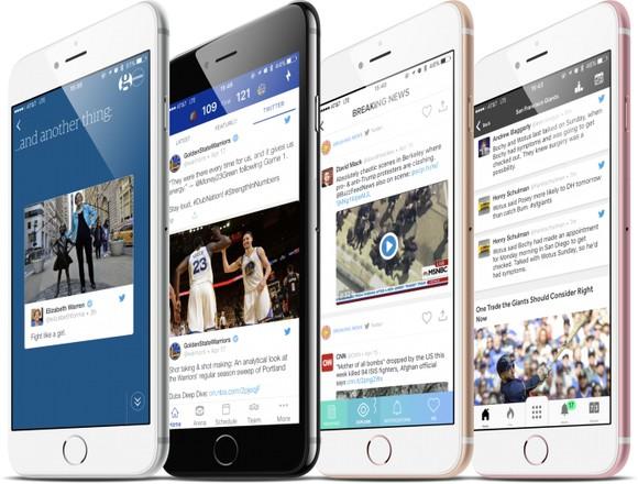 Smartphones with Twitter features.
