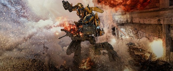 A Transformers 5 character in a battle scene.