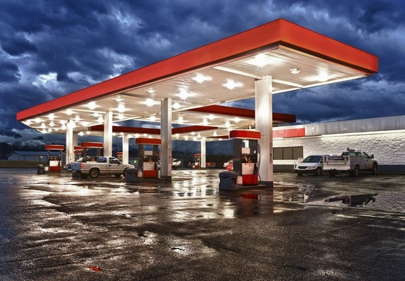 A Gas Station at twilight.