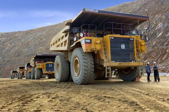 Dump trucks lined up at Kinross Gold's Fort Knox mine.