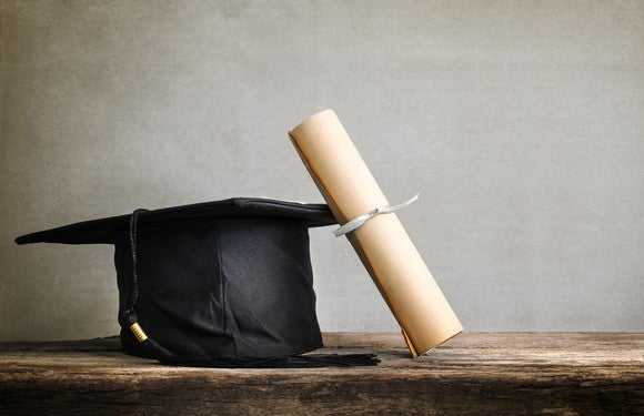 A graduation cap sits with a diploma.