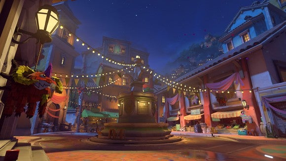 Screenshot of an in-game map, depicting a Mexican-themed town square at nighttime.