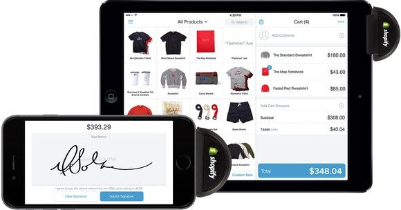 Shopify screens shown on tablet and cellphone.