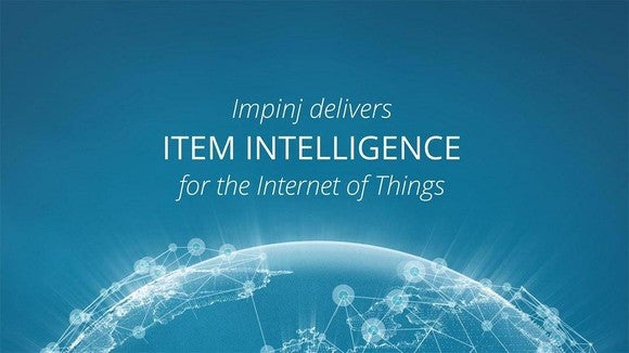 "The words ""Impinj delivers item intelligence for the Internet of Things,"" hovering above a digital rendering of the globe."