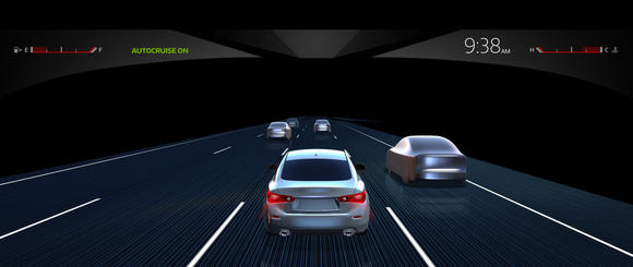 Cars on a road being detected by a self driving car mapping system.