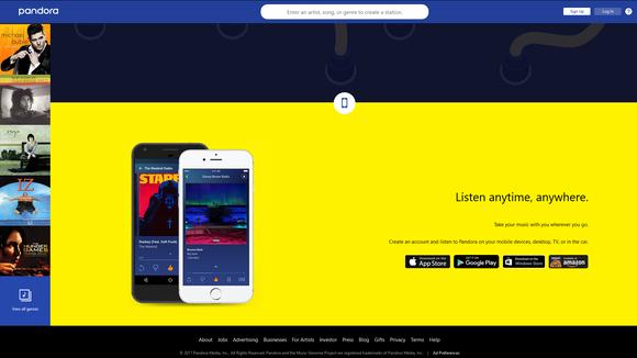 Pandora web page