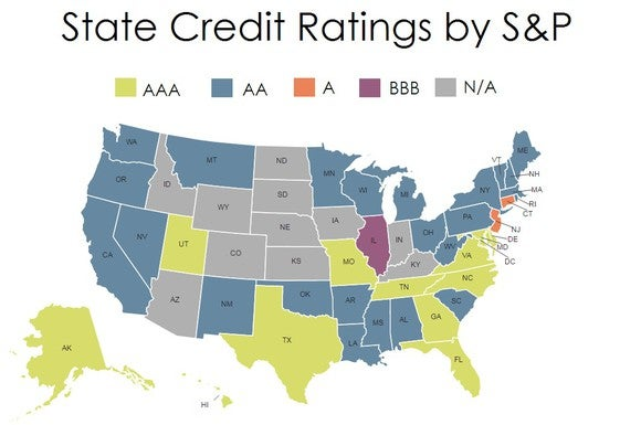 Map of US State Credit Ratings