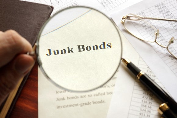 "The words ""junk bonds"" under a magnifying glass"