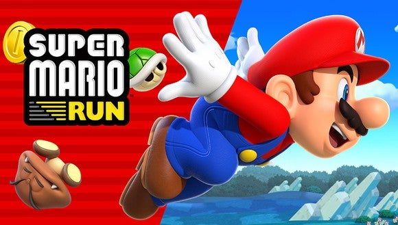 "Nintendo box art of ""Super Mario Run"" mobile game with Mario character, wearing red hat and blue overalls, leaping into the air."