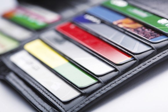 Multiple credit cards in a wallet.