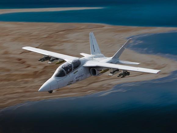A Scorpion jet in flight.