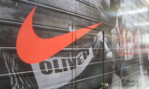 Nike swoosh on a wall