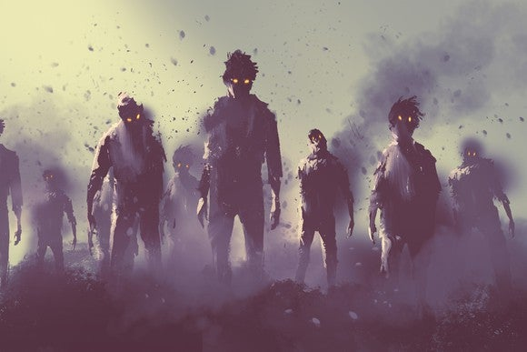 A group of zombies emerges.