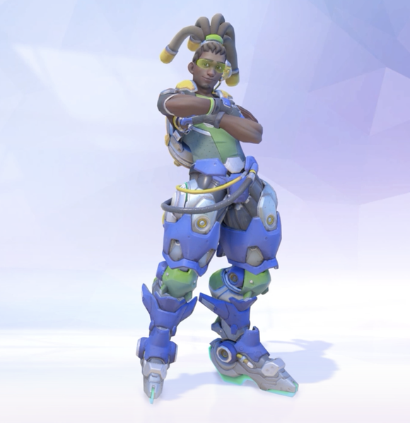 """Overwatch"" character posing with arms folded across chest and wearing a robotic outfit around his legs colored in green and purple."