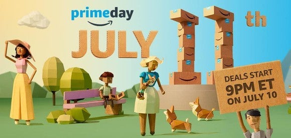 Ad for Prime Day showing cartoon people standing outside.