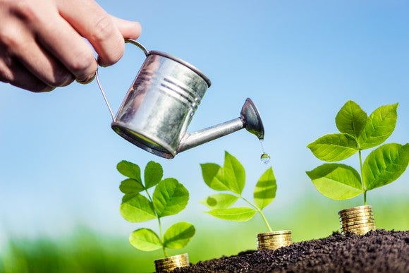 A hand holding a watering can, pouring water on plants that are growing out of gold coins.