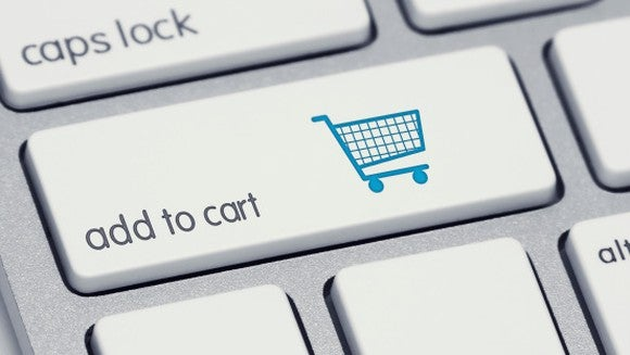 Close-up of a keyboard with an online shopping button.