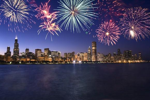 Fireworks over the Chicago skyline.