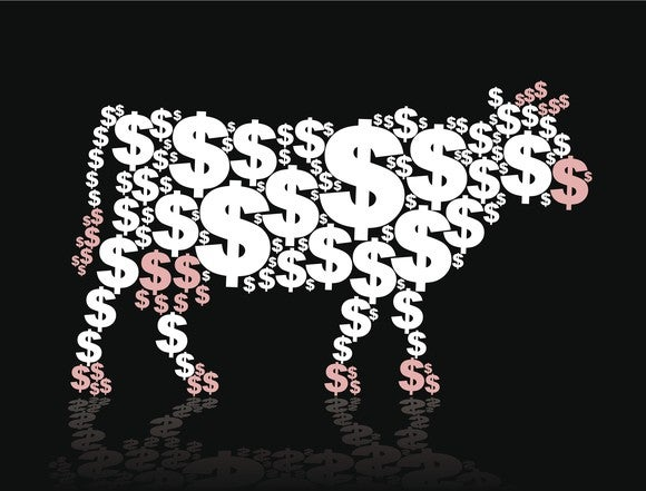 Cow outline made up of dollar signs