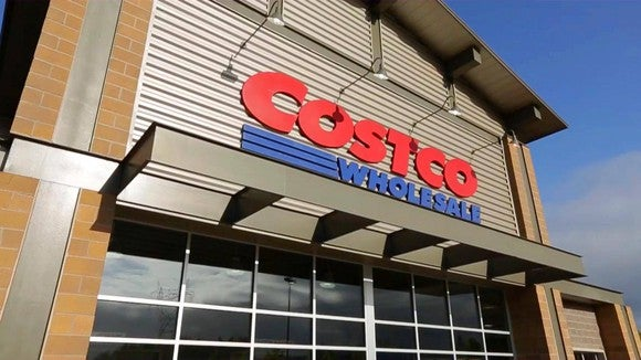 The entrance to a Costco Wholesale warehouse