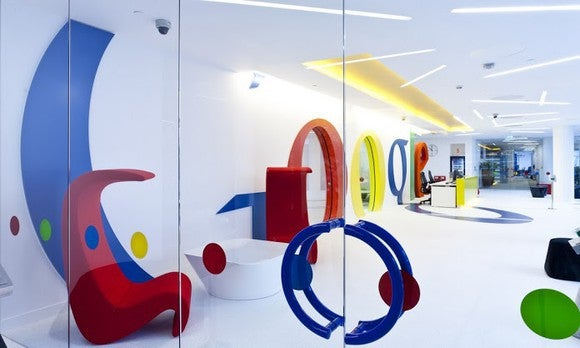 The Google logo at its London office.