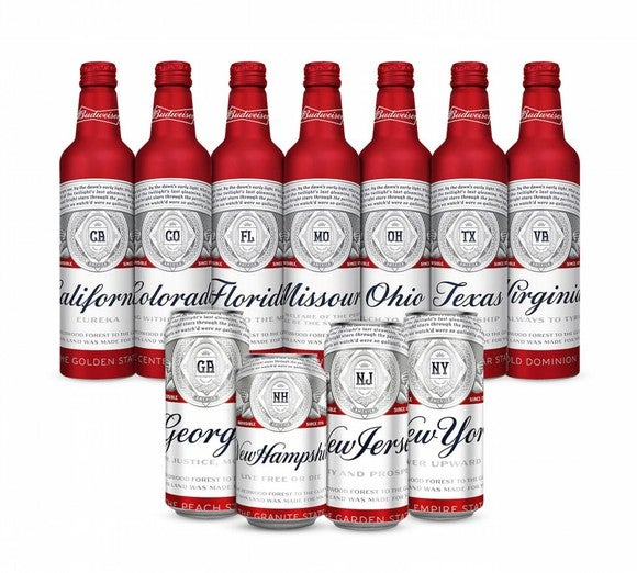 New Budweiser labels featuring state names where breweries are sited