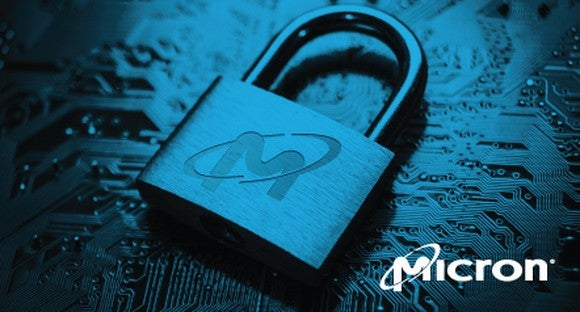 A Micron Technology logo on a lock.