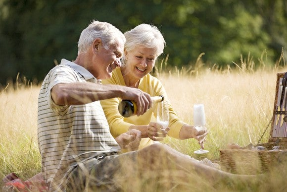 Retired couple having a champagne picnic