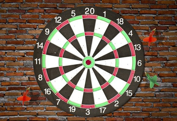 Thrown darts badly miss the dartboard.