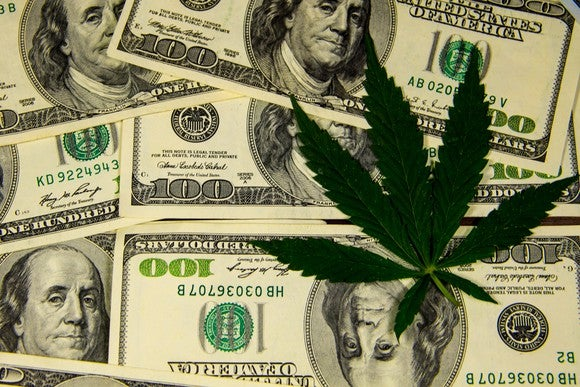 Cannabis leaf on pile of hundred dollar bills