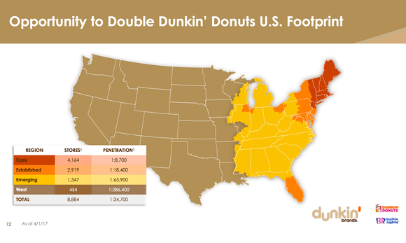 Map of Dunkin' Donuts U.S. footprint