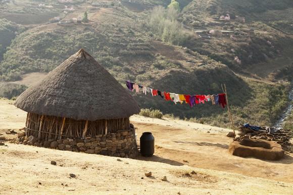 A rural Lesotho hut.
