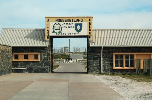 The entrance to Robben Island's jail