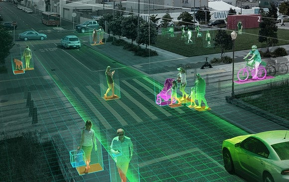 Depiction of self driving car detecting surrounding pedestrians.