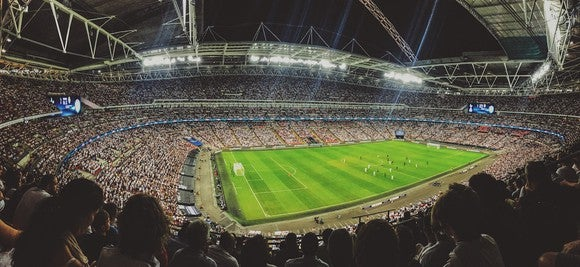 Soccer stadium at night.