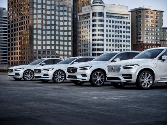 Four Volvo plug-in hybrid vehicles.