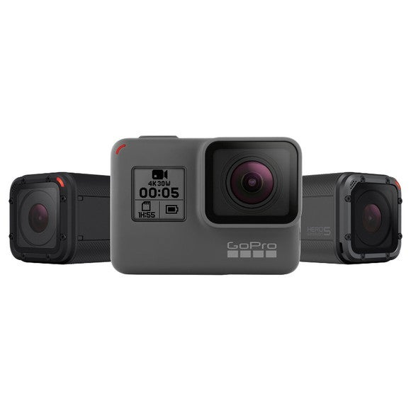 GoPro's Hero 5 lineup of cameras, including two Session models.