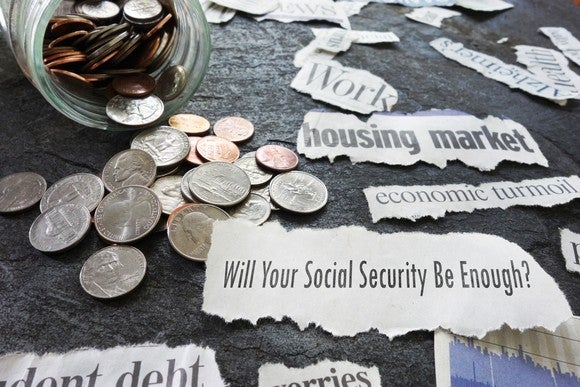A change jar surrounded by Social Security headlines.