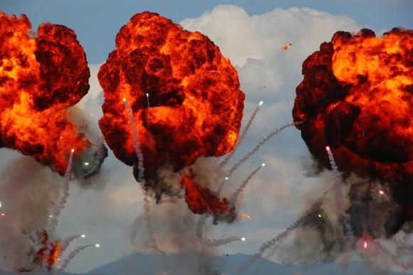 Rocket explosions midair